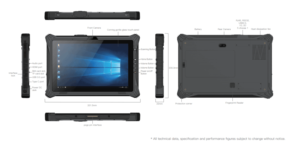 Tablette RT120 sous 6 angles